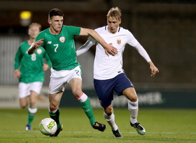 Declan Rice, in action for Ireland's U21s againt Norway's Ulrik Jenssen here, looks set for a call-up.