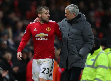 Luke Shaw and Manchester United manager Jose Mourinho.