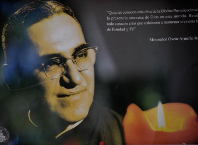 A portrait of Archbishop Oscar Romero.