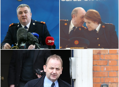 Clockwise from top left: Supt David Taylor, Martin Callinan, Nóirín O'Sullivan, and Maurice McCabe.