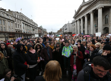Protesters at the first march on Thursday.