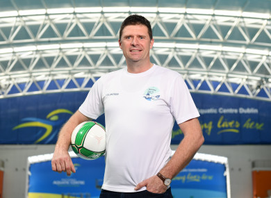 Para Swimming Allianz European Championship ambassador Niall Quinn at the National Aquatic Centre yesterday.