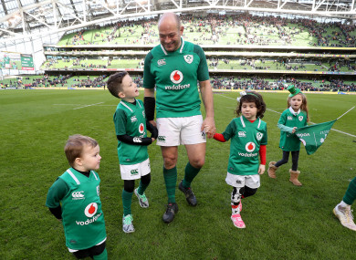 Best celebrates with his children after yesterday's win over Scotland.