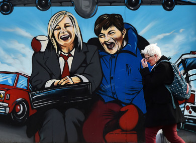A mural in Belfast of Michelle O'Neill and Arlene Foster.
