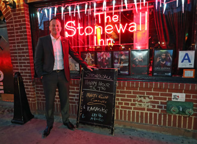 Taoiseach Leo Varadkar poses for a photo outside the Stonewall Inn, an iconic site for the gay rights movement, in New York City's Greenwich Village.