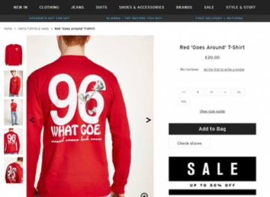 A screenshot from the Topman website before it was removed.