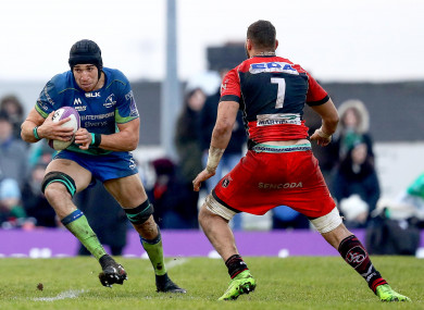 Dillane (left) facing Oyonnax in the Challenge Cup.