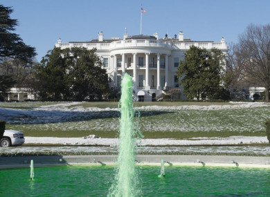 The fountain is dyed green on the South Lawn of the White House in Washington, DC last St Patrick's Day