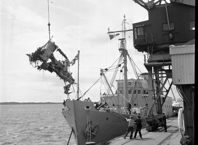 Landing of the wreckage at Rosslare Harbour in Wexford in March 1968.