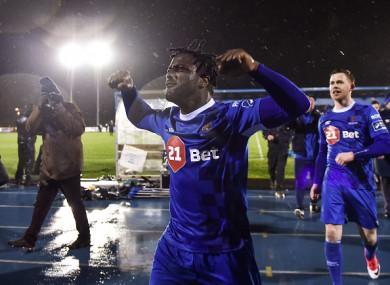 Stanley Aborah celebrates Friday's win.