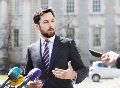 Housing Minister Eoghan Murphy speaking outside of Government Buildings today.