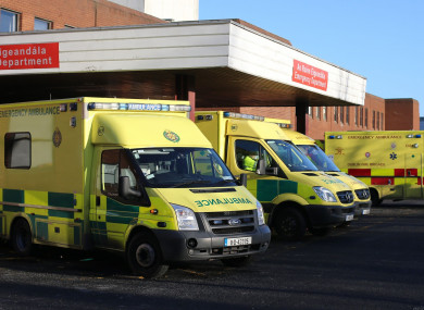 Ambulances outside Beaumont Hospital in Dublin.