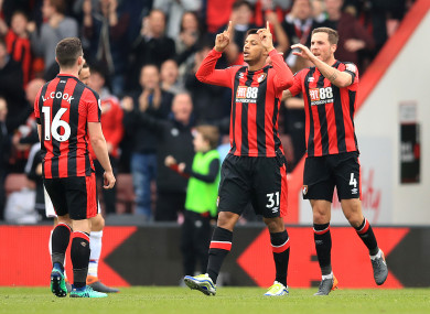 AFC Bournemouth's Lys Mousset (centre right) celebrates scoring his side's first goal.