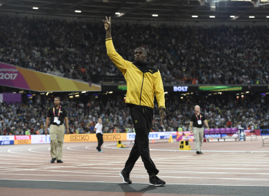 Bolt does a lap of honour at the IAAF London 2017 World Athletics Championships in London.
