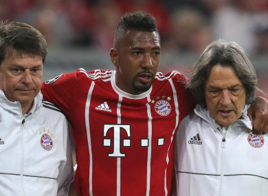 Bayern Munich defender Jerome Boateng went off during the first half of last night's game in Munich.