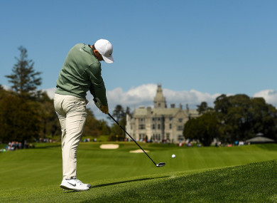 Rory McIlroy in action at the Limerick course today.