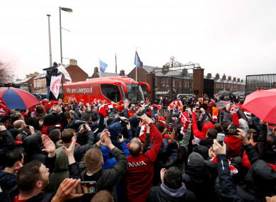 The Liverpool team coach arrives at Anfield.