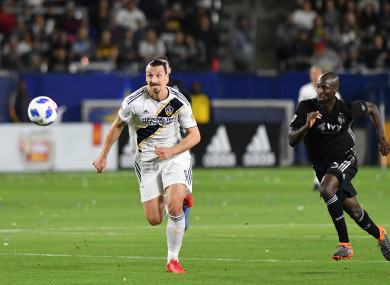 Zlatan Ibrahimovic of Los Angeles Galaxy during the game against the Sporting Kansas City.