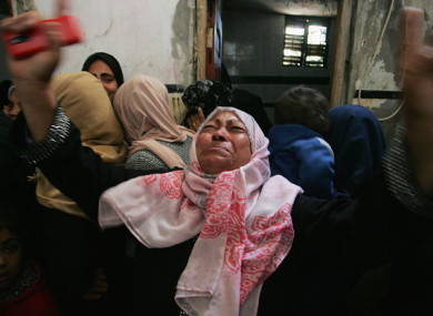 Relatives of Palestinian Ibrahim Abu Shaar, who was killed along Israel border with Gaza, mourn during his funeral in Rafah town, in the southern Gaza Strip.