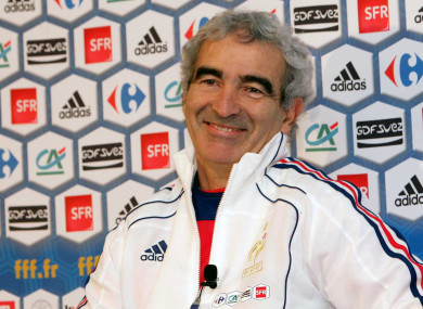 Domenech ahead of the World Cup play-off against Ireland in 2009.