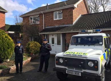 Police Community Support Officers standing outside the Salisbury home of Sergei Skripal.