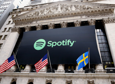 Spotify's banner hanging on the NYSE today.