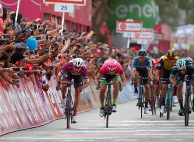 Bennett (right) finishes behind Elia Viviana and Sacha Modolo.