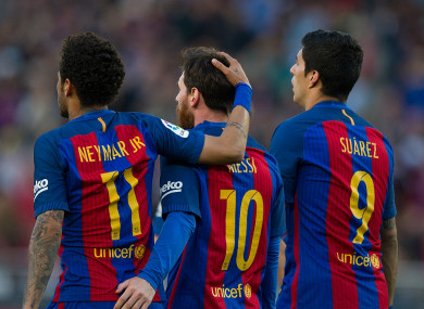 MSN: Messi, Suarez and Neymar.