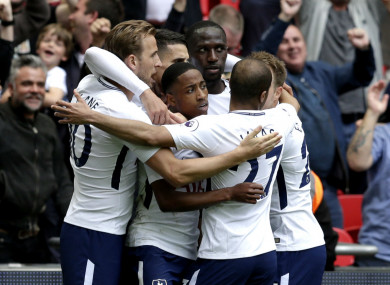 Tottenham celebrate with Harry Kane