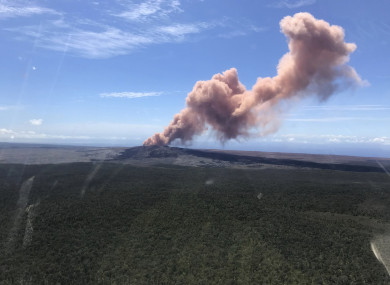 In this photo released by US Geological Survey, ash plume rises above the Puu Oo vent, on Hawaii's Kilaueaa Volcano.