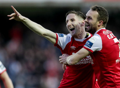 Ian Bermingham and Conan Byrne celebrate Pats' first goal.