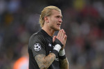 Loris Karius shows his disappointment during tonight's match.