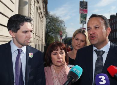 Taoiseach Leo Varadkar along with ministers Josepha Madigan (centre) and Simon Harris