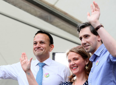 Taoiseach Leo Varadkar with Senator Catherine Noone and Health Minister Simon Harris.