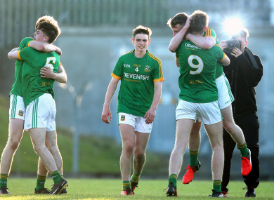 Meath celebrate at the final whistle.