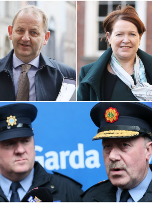 Clockwise from top left: Maurice McCabe, Nóirín O'Sullivan, Martin Callinan, David Taylor