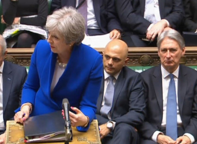 Theresa May speaks during Prime Minister's Questions in the House of Commons.