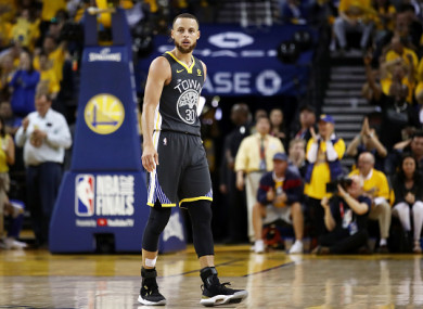 Golden State Warriors' Stephen Curry pictured on Sunday.