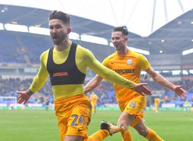 Sean Maguire celebrates alongside Alan Browne.