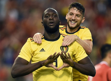 Lukaku celebrates with team-mate Dries Mertens.
