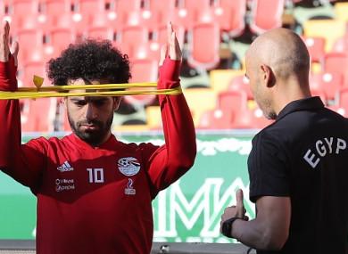 Salah at the Akhmat Arena earlier.