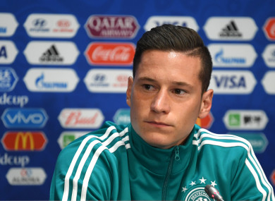 German player Julian Draxler during the press conference.