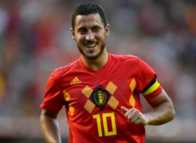 Eden Hazard, Belgium v Egypt. CREDIT: Twitter @BelRedDevils