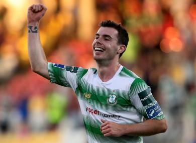 Joel Coustrain celebrates scoring Shamrock Rovers' second goal on Friday.