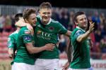 Cork City's Kieran Sadlier, Sean McLoughlin and Steven Beattie.