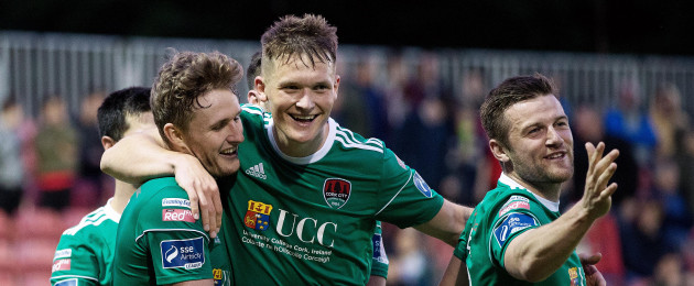 Cork City's Kieran Sadlier, Sean McLoughlin and Steven Beattie.