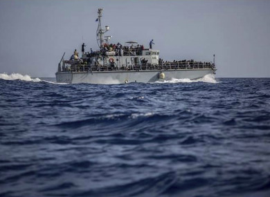File photo of a ship containing migrants intercepted offshore near Libya.