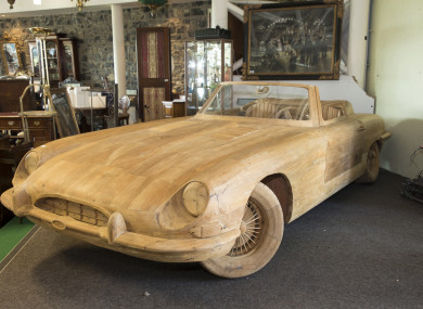 The almost life-sized wooden E-Type Jaguar which sold for €4,000.
