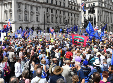 Crowds on Pall Mall in central London, during the People's Vote march for a second EU referendum