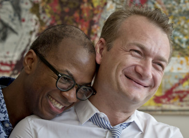Clay Hamilton, left, and Adrian Coman, an American-Romanian couple who were married in Belgium.